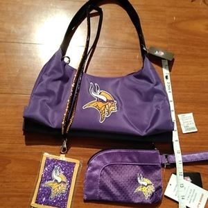 Minnesota Vikings Purse Wristlet Wallet Bundle Set